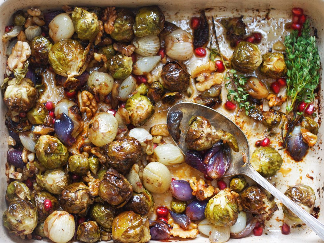 Jewelled Brussels & Shallots in Mandarin, Thyme & Garlic