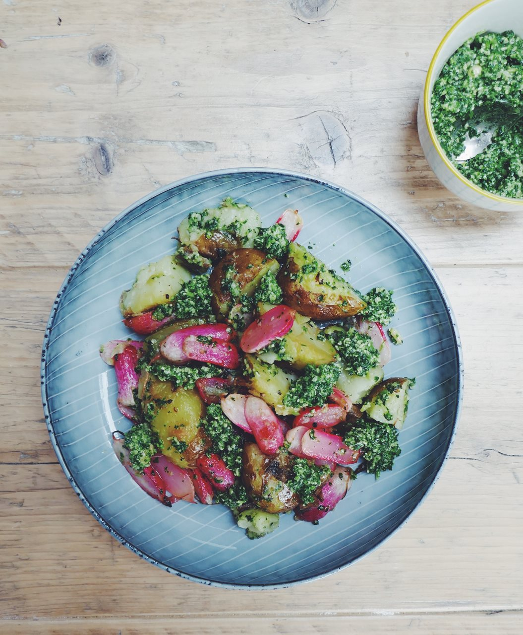 Jersey Royals With Roasted Radishes And A Mint And Radish Top Pesto