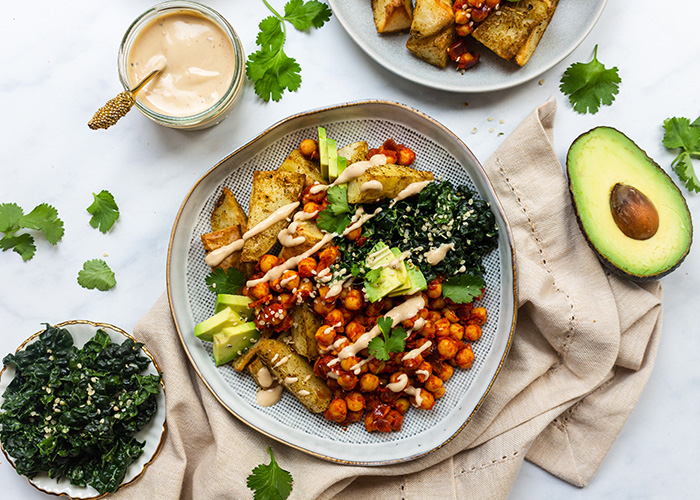 Recipe: Roasted Cumin Potatoes with Harissa Spiced Chickpeas and Lemon Tahini