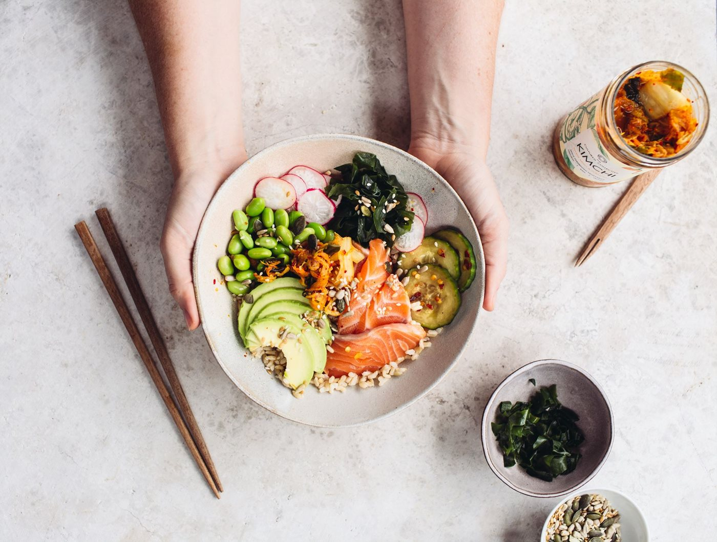 poke bowl with salmon and kimchi