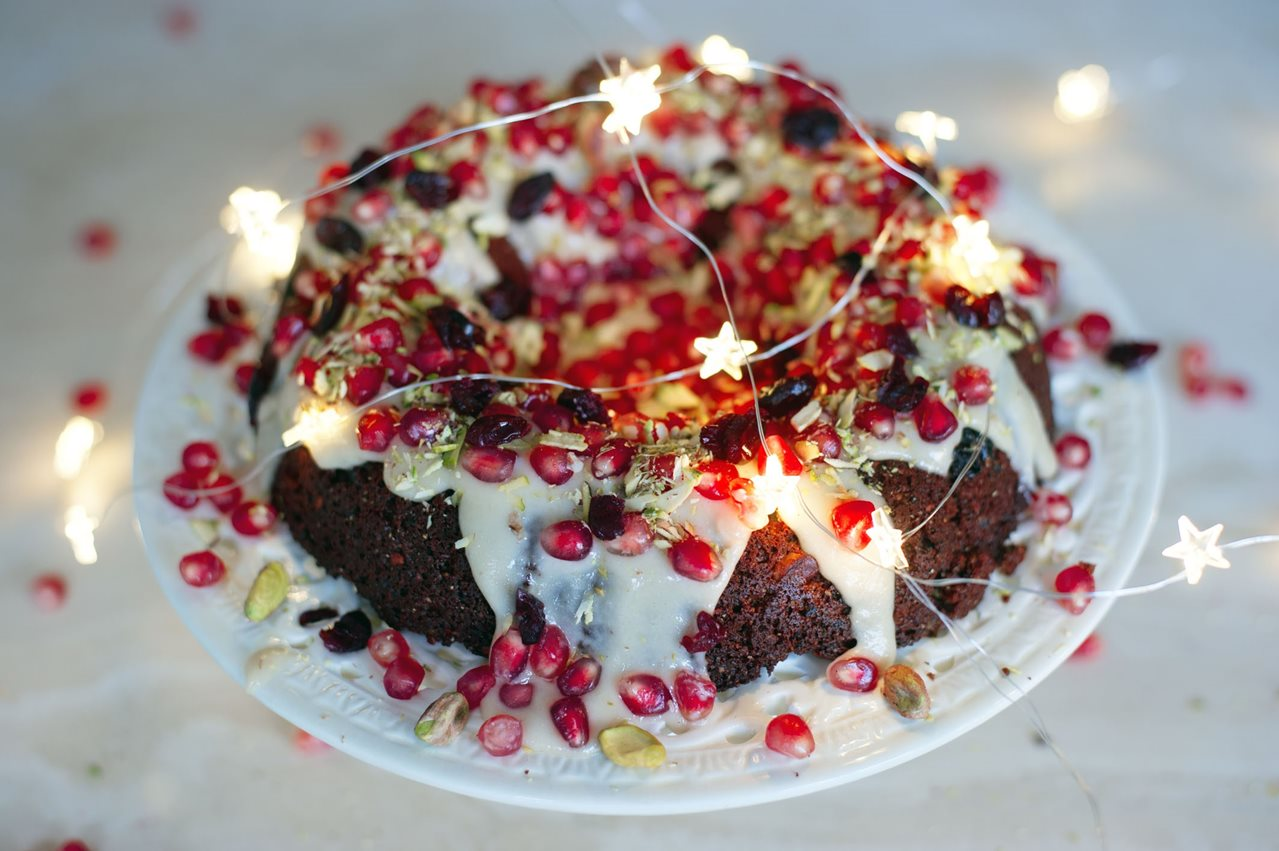 All Spice Christmas Cake with Vanilla Cashew Cream