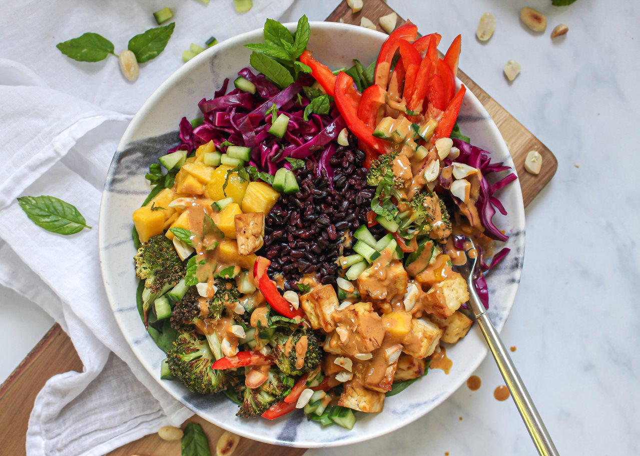 Recipe: Spicy Mango and Tofu Bowl with Coconut Satay Sauce